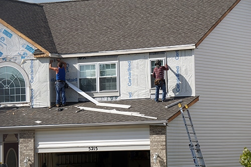 housewrap on new house build